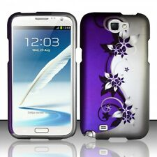 Samsung Galaxy Note II 2 Rubberized HARD Protector Case Cover Purple Silver Vine