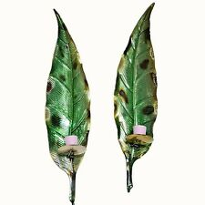 Pair of Metal Leaf Wall Sculpture Green Candle Holder Wall Mounted Sconce Decor