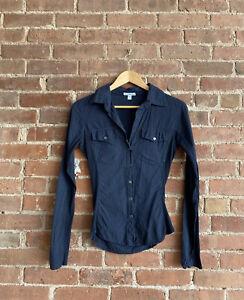 James Perse Womens Shirt,  Sz 1 Navy Blue 100% Cotton