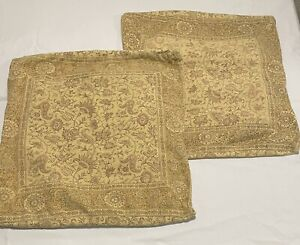 "Two Pottery Barn Pillow Covers Mustard Yellow Brown Floral 20"" Some Fading"