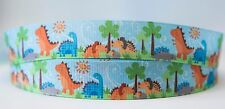1M X 22mm Grosgrain Ribbon Craft DIY Cake Decorations Hair Bows - Dinosaurs