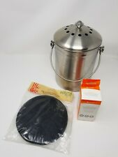 Stainless Steel Compost Pail 1 Gallon Includes 2 Filters & Compostable Bags