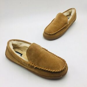 Lands' End Men's Suede Leather Shearling Fur Moccasin Slippers - English Tan