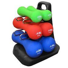 JLL® Dumbbells Set Ergonomic Neoprene  + Stand Hand Weight Exercise Fitness Home