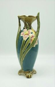 """Art Nouveau Sculpted Majolica Footed Vase w Pink Yellow Floral on Teal 8.5"""""""