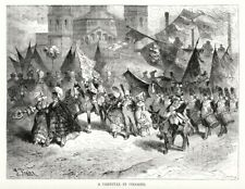 """Köln, Maskenzug, Karneval, """"Aufzug der Funken!"""", Original-Holzstich von ca. 1880"""