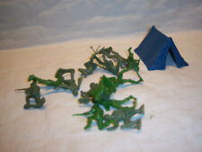 Vintage group 13 army soldiers & tent,  plastic