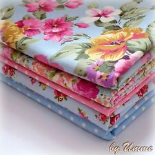 5 Fat Quarter Bundle 100% Cotton Fabric - Blue Pink Floral Roses - Sewing Craft