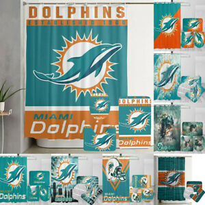 Miami Dolphins Bathroom Rugs Mats Shower Curtains 4PCS Non-Slip Toilet Lid Cover