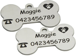 Pet Dog cat Puppy Personalised ID Name Tag Engraved Etched Stainless Steel Bone