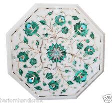 "12""x12"" Marble Side Coffee Table Top Malachite Inlaid Handmade Arts Decor H1818"