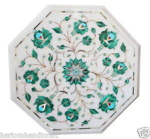 "12""x12"" Marble Side Coffee Table Top Malachite Inlaid Handmade Arts Decor H1818"