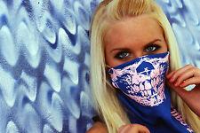 UNIQUE PINK SKULL GLOW IN DARK BLUE BANDANA HALF FACE MASK RAVE PARTY EDC EDM