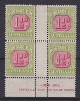 APD452) 1922-30 Third wmk 1½d Carmine & yellow-green Ash imprint block of 4