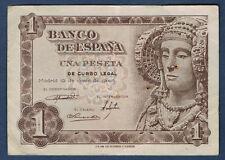 BILLET de BANQUE D'ESPAGNE de 1 PESETA Pick n°134 du 19.6.1948 en TTB N 07068796