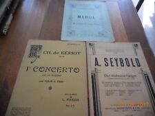 LOT 3 PARTITIONS DE MUSIQUE POUR PIANO ET VIOLON - SEYBOLD, BÉRIOT, MEHUL