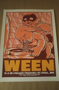 Rare WEEN Poster AP Jermaine Rogers St PAUL Gig Poster Print Nite 2 Bunny Racoon