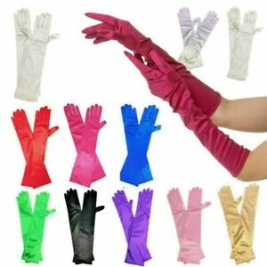 Lady Elastic Long Finger Gloves Fancy Party Dress Evening Wedding Mittens 20/30S