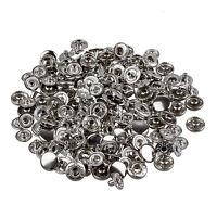 50 Set Metall Kein Naehen Druckknoepfen Tasten Druckknopf Popper 10mm GY