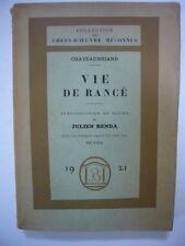 CHATEAUBRIAND VIE DE RANCE ENVOI AUTOGRAPHE JULIEN BENDA 1920 BOSSARD TBE