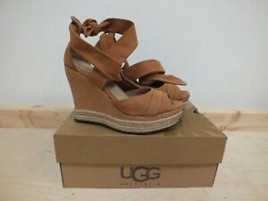 Ugg Tan Suede Wedges Sandals Size 5.5 - Lucy - Boxed (Hal)