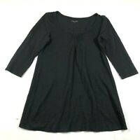 Eileen Fisher Blouse Shirt Top Size XS Black Linen Scoop Neck Textured A Line