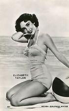ELIZABETH liz TAYLOR 60s VINTAGE POSTCARD SWIMSUIT