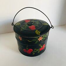 Toleware Pail Metal Hand Painted Decorated Cherries Tole Antique Storage