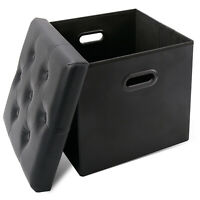 Ottoman Storage Cubes, RV Folding Storage Ottoman Bench with Hole Handle,Toy Box