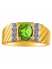 Diamond & Peridot Ring 14K Yellow or 14K White Gold MR3064PEY-C