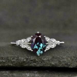 2Ct Oval Cut Alexandrite Solitaire Wedding Engagement Ring 14K White Gold Finish