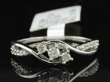 Ladies 10K White Gold 3 Stone Diamond Engagement Ring Twist Band Bridal Set .22C