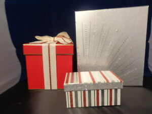 Empty Gift Box Christmas Valentine Red Silver Striped Glitter