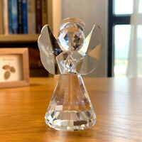 Crystal Angel Sculpture Figurine Glass Craft Table Ornament Home Decor Xmas Gift