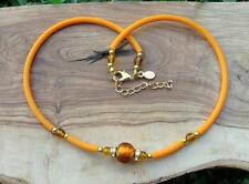 MADE IN ITALY MURANO GOLD FOIL GLASS BEAD NECKLACE Orange Rubber Modern Collar