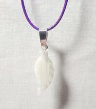 """Mother of Pearl Leaf Gemstone 27mm  on Purple Waxen Cord 18"""" Necklace"""