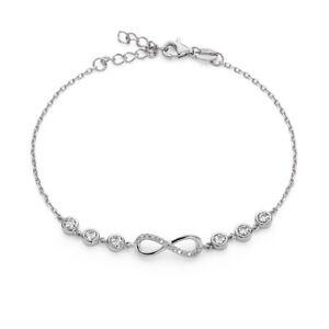 Armband 925er Silber unendlich Infinity Herz Damen verstellbar Schmuck Swarovski