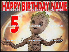 GUARDIANS OF GALAXY BABY GROOT:Personalized Edible Cake Topper FREE SHIP Canada