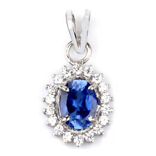14KT White Gold 1.95Ct Natural Blue Tanzanite EGL Certified Diamond Pendant