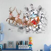 3D Christmas Wall Decal Santa Deer Wall Sticker PVC Window Glass Decal L