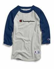 Champion Baseball Tee T-Shirt Script Logo Kids' Athletics 3/4 Sleeve Tagfree