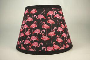 Pink Flamingos Print on Black Fabric Handmade Lampshade Lamp Shade
