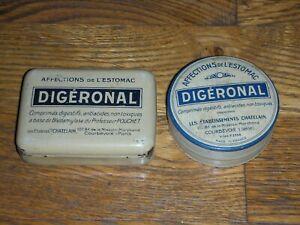 2 boites Digéronal, ronde et rectangulaire vintage