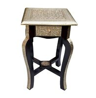Wood Drawer Coffee Table Stool Unique  Brass Polished Home Decor Indian Art