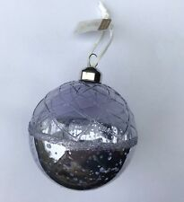 6 x Hazy Lilac Glass Christmas Tree Baubles Hanging Decorations Vintage Style