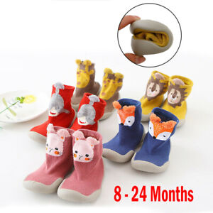 Winter Kids Baby Girl Boys Toddler Anti-slip Slippers Socks Warm Cotton Shoes