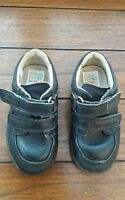 Clarks boys navy blue leather first shoes UK infant size 6F velcro fastening