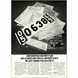 1969 Volvo: European Delivery Plan Red Tape Vintage Print Ad