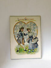 """Early 1900's Victorian Raphael Tuck & Sons Valentine Card """"Love Greetings"""""""