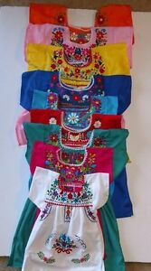 Mexican Girl Dress Tunic Embroidered with Multicolored Flowers Dress SZ 6M-4T